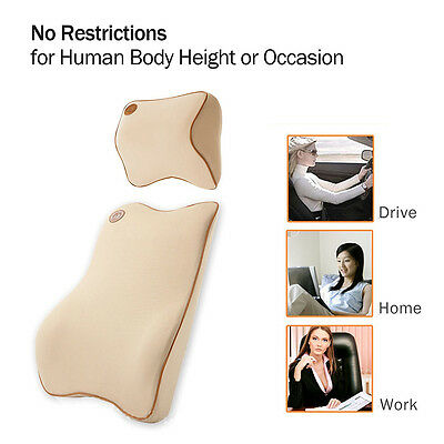Car Back Pillow Cushion Memory Foam Lumbar Cushion Neck Kit Premium Seat Cover