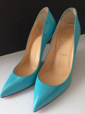 4f295d839022 Christian Louboutin Pigalle Follies 100 Pointy Patent Pumps Turquois Size 37