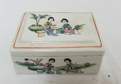 Antique Chinese Republic Period Enameled Covered Box Porcelain Ladies