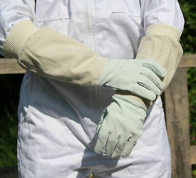 Beekeeping Bee Gloves - Soft White Goat Leather with Cotton Gauntlets 3 Size SML