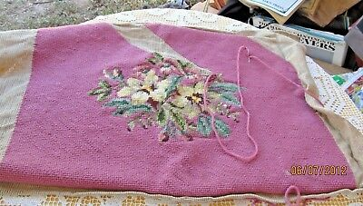 Almost Completed Wool Needlepoint Yellow Flowers On Pink W Extra Wool To Finish