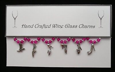 Shoes Themed Wine Glass Charms Set of 6 Handmade Hot Pink. Best Price
