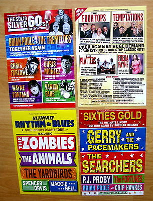 60s - 4 X CONCERT FLYERS - THE ZOMBIES - THE ANIMALS - THE YARDBIRDS - FOUR TOPS