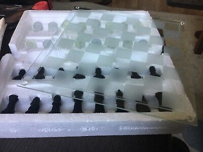 Deluxe Glass Chess Set NWOT Unwanted gift, Chess board measures 35x35cm square