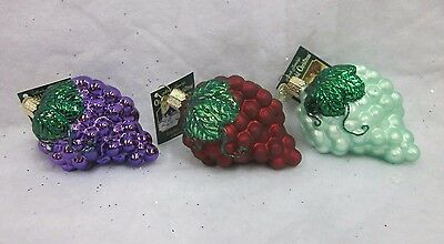 Merck Family's Old World Christmas Glass Ornament NWT Grapes Red Purple Green