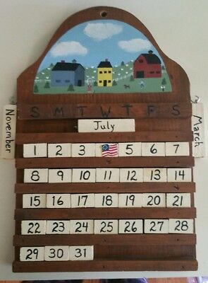 Wooden perpetual calendar. Hand painted and hand crafted, country/folk motif.