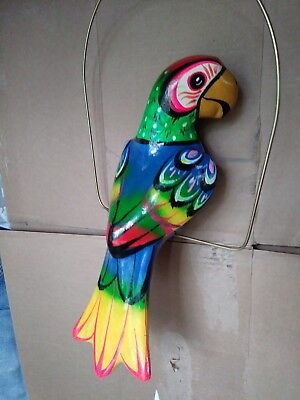 "16"" Talavera Ceramic Hanging Parrot with Perch ( Blue belly 1)"