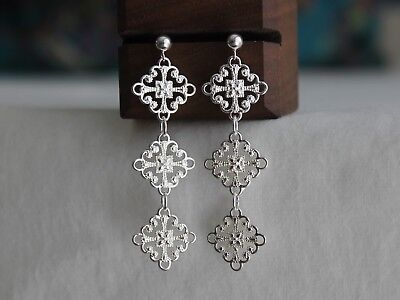 Silver Plated Cut Out Filigree Elegant Long Drop Earrings Jewellery Gift For Her