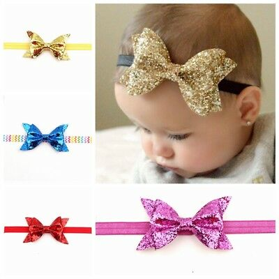 NEW Cute Hair Bow Baby Headband Knot Elastic Hair Band Infant Children Party Wea