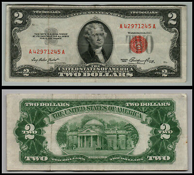 1953 $2 Dollar Bill Old Us Note Legal Tender Paper Money  Red Seal L=0702