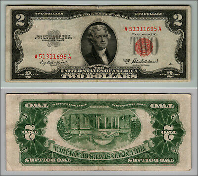 1953A $2 DOLLAR BILL OLD US NOTE LEGAL TENDER PAPER MONEY CURRENCY RED SEAL p635