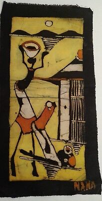 African Batik. Figure carrying pot .Cotton. Black,white,orange,yellow. Durban.