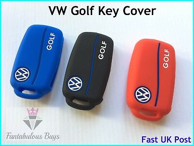 VW GOLF Silicone Key Fob Case Shell Cover Volkswagen Mk5 Mk6 Rubber Sleeve UK