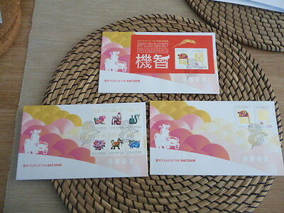 Christmas Island fdc 2008  x 3  year of the Rat    Set and Mini Sheet