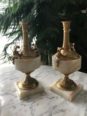 """Pair Marble Gilt Bronze Candle Holders Antique French 10.5"""" Figural Candelabra"""