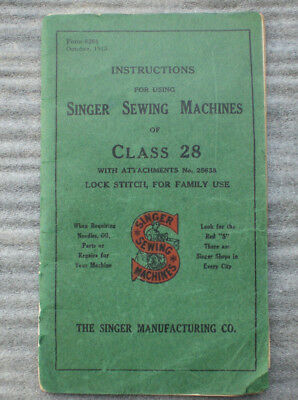 Singer Sewing Machine Class 28 Manual Instruction Booklet