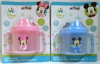Baby Sippy Cup Disney MICKEY MINNIE MOUSE Blue Pink Toddler Training Feeding