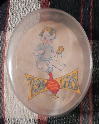 Early Old Antique Red Goose Shoes Toddlers Shoe Box Oval Container Advertising C