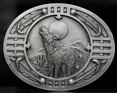 Vtg Howling Wolf Girl Moon Feather Southwest Native Nature Western Belt Buckle