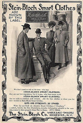 1903 Victorian Fashion Ad Stein-Bloch Clothes Menswear Suits Overcoats Men Lady