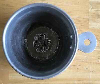 Vintage Decor Old Aluminum 1/2 Measuring Cup Riveted Handle Free Shipping