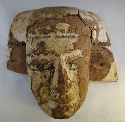 "Ancient Egyptian Carved Wood Sarcophagus Lid Mask. c.664-100 B.C.E. 11 ½"" x10 ½"""