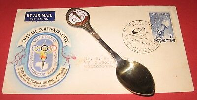 1956 Olympic Games Melbourne - Vintage Enamel Collectors Spoon & First Day Cover