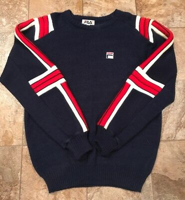 3702279a693d Vintage Rare Fila 80 s Navy red white Knit Athletic Sweater Mens Size Large