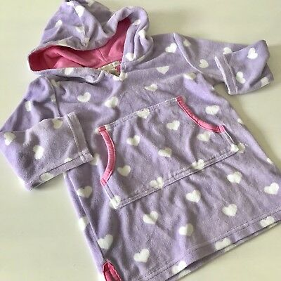 Pottery Barn Kids PBK girls terry hooded toweling cover up 2T 3T purple hearts