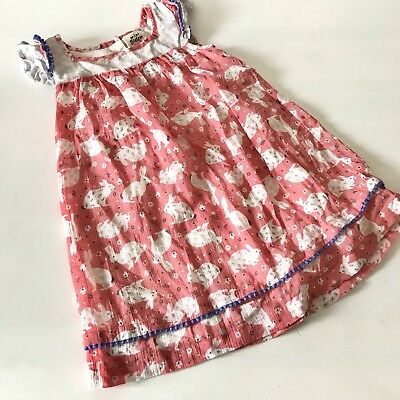 Mini Boden toddler girls Hotchpotch crinkle pink bunnies dress 2-3y layer ruffle