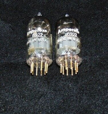 NOS + Perfect Pair (PQ) 6922 Amperex Gold pin Tube's D Getters E88CC CCa (1961)
