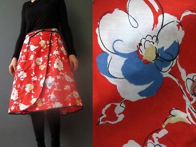 70s Red Floral Cotton Wrap Skirt Small Medium Buy 3+ items for FREE Postage