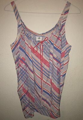 CAbi Tassel Tank #5230 Red White Blue Stripes Size Small