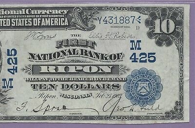 "1902 $10 Date back Fr# 616  Ch# 425 WISCONSIN PMG Top Pop ""Finest Known"""