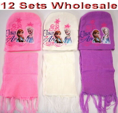 12Sets Wholesale Kids Winter Disney Frozen Knitted Beanie Hat & Scarf Sets Mixed