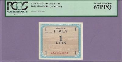 """Italy ALLIED MILITARY CURRENCY 1943 1 Lira pick # M10a PCGS PPQ """"SINGLE TOP POP"""""""