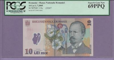 Romania -2005 10 Lei  pick # 119a PCGS PPQ 69  TOP POP FINEST KNOWN