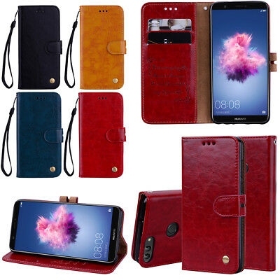 For Huawei P Smart/P20/Honor 6A Luxury Flip Leather Wallet Magnetic Case Cover