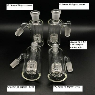 FLASH SALE Glass Ash Catchers 14mm 18mm 45 90 Degrees With 14mm Glass Bowls