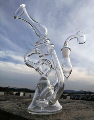 Glass Bong Colorful Glass Bong with quartz banger  w 14.4mm joint +FREE SHIPPING