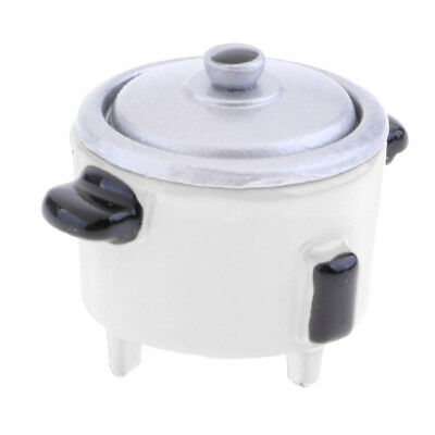 Lifelike Electric Rice Cooker 1:12 Dollhouse Miniature Cookware Accs White