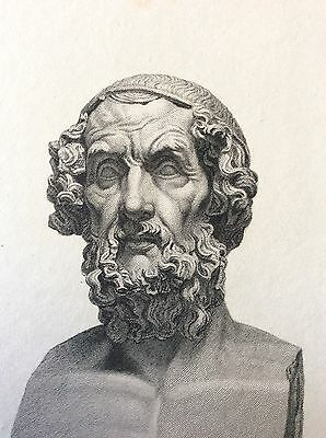 HOMER BUST Antique Engraving 1814 Original British Museum Folio Bookplate 200yrs