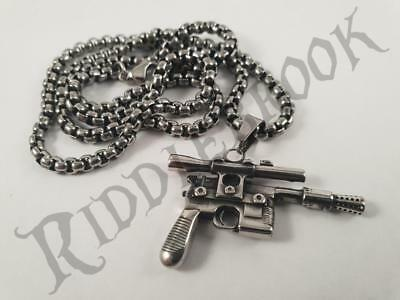 Stainless Steel Han Solo DL-44 Blaster Pendant and necklace 60cm chain star wars