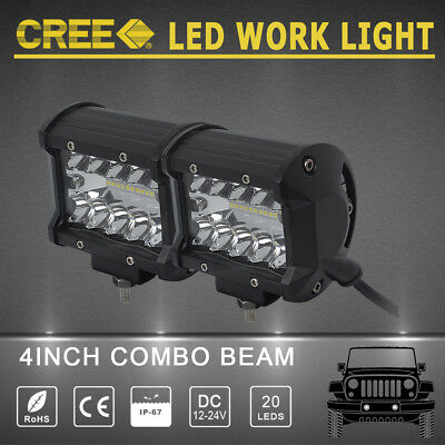 2x 4inch CREE LED WORK LIGHT BAR Flood Spot Combo beam LAMP off-road ATV 4X4 wd