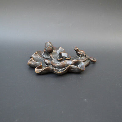 China red Copper Bronze Lucky Frog On Lotus Flower Statue writing-brush washer