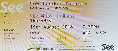 """School Of Rock"" London Ticket, 16th Aug, 7.30pm"