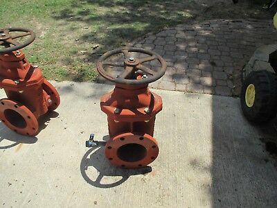 "New  6 In Iron Flanged  Gate Valve 12"" Handle 24"" H & Weight Is 142 Lbs"