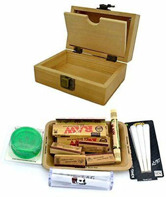 Shine Grassleaf Wooden Rolling Box With Raw Tray Gift Set- Includes Paperstips