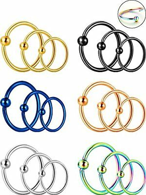 18 Pieces 20G Stainless Steel Nose Ring Hoop Septum Ring Cartilage Helix Ear Pie