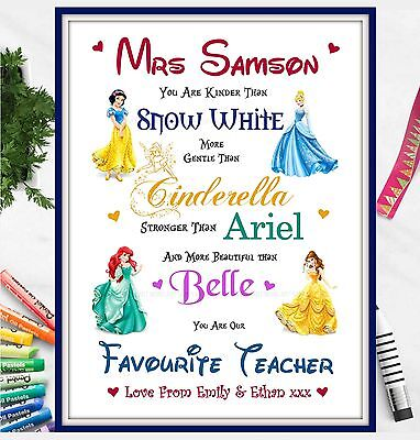 Thank You Teacher Gifts Disney Personalised Poem Best Teacher Leaving Present A4